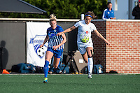 Allston, MA - Sunday, May 22, 2016: Boston Breakers defender Kassey Kallman (5) and FC Kansas City forward Shea Groom (2) during a regular season National Women's Soccer League (NWSL) match at Jordan Field.