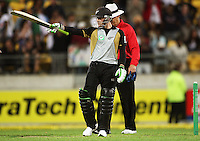 NZ's Brendon McCullum acknowledges applause for his half century during 2nd Twenty20 cricket match match between New Zealand Black Caps and West Indies at Westpac Stadium, Wellington, New Zealand on Friday, 27 February 2009. Photo: Dave Lintott / lintottphoto.co.nz