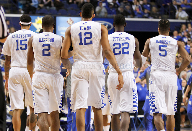 The first platoon walks off the court during the first half of the University of Kentucky vs. Grand Canyon University men's basketball game at Rupp Arena in Lexington, Ky., on Friday, November 14, 2014 Photo by Jonathan Krueger   Staff