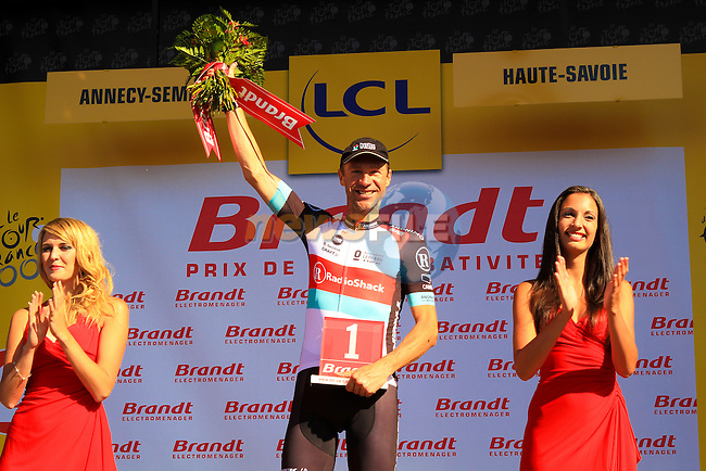 Jens Voigt (GER) Radioshack Leopard Trek takes the combativity prize at the end of Stage 20 of the 100th Edition of the 2013 Tour de France from Annecy to Annecy Semnoz. 20th July 2013.<br /> (Photo:Thomas van Bracht/Peloton Photos/www.newsfile.ie)