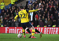 4th February 2020; Kassam Stadium, Oxford, Oxfordshire, England; English FA Cup Football; Oxford United versus Newcastle United; Allan Saint-Maximin of Newcastle prepares to shoot under pressure  from George Thorne of Oxford