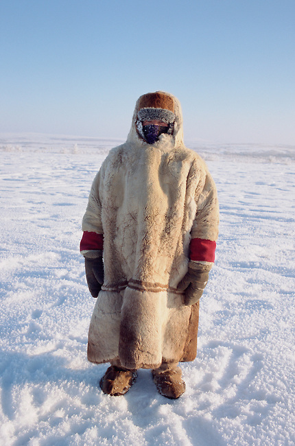 Olga Kirillova, a Sami woman from Lovozero, out on the tundra in the winter time. Murmansk, NW Russia