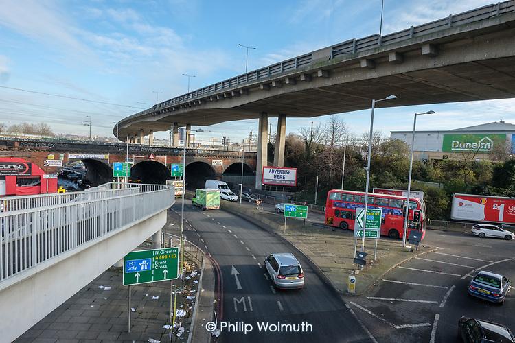 North Circular Road flyover at Brent Cross, London