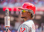 24 May 2015: Philadelphia Phillies outfielder Odubel Herrera stands on deck during a game against the Washington Nationals at Nationals Park in Washington, DC. The Nationals defeated the Phillies 4-1 to take the rubber game of their 3-game weekend series. Mandatory Credit: Ed Wolfstein Photo *** RAW (NEF) Image File Available ***