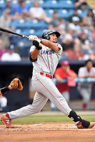 Lakewood BlueClaws first baseman Darick Hall (46) swings at a pitch during a game against the Beer City Tourists at McCormick Field on June 1, 2017 in Asheville, North Carolina. The Tourists defeated the BlueClaws 8-5. (Tony Farlow/Four Seam Images)