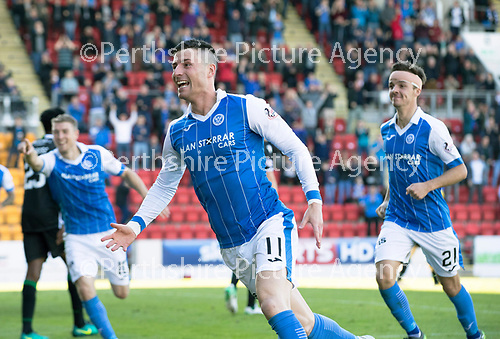 St Johnstone v Hibs &hellip;09.09.17&hellip; McDiarmid Park&hellip; SPFL<br />Michael O&rsquo;Halloran celebrates his goal<br />Picture by Graeme Hart.<br />Copyright Perthshire Picture Agency<br />Tel: 01738 623350  Mobile: 07990 594431