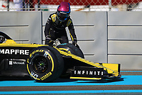 29th November 2019; Yas Marina Circuit, Abu Dhabi, United Arab Emirates; Formula 1 Abu Dhabi Grand Prix, practice day; Renault Sport F1 Team, Daniel Ricciardo exits his car as he stops on circuit due to engine failure - Editorial Use