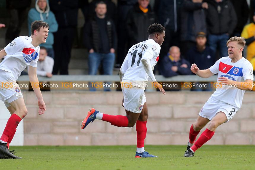 Fejiri Okenabirhie of Dagenham  is congratulated after scoring the opening goal during Torquay United vs Dagenham & Redbridge, Vanarama National League Football at Plainmoor on 17th February 2018