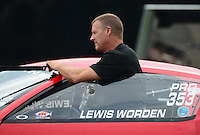 Sept. 1, 2012; Claremont, IN, USA: NHRA pro stock driver Lewis Worden during qualifying for the US Nationals at Lucas Oil Raceway. Mandatory Credit: Mark J. Rebilas-