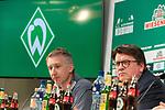 13.03.2020, wohninvest WESERSTADION,, Bremen, GER, 1.FBL, Werder Bremen PK zur Spielabsage wg Corona, im Bild<br /> <br /> Dr. Hubertus Hess-Grunewald (Geschäftsführer Organisation & Sport SV Werder Bremen) und Frank Baumann (Geschäftsführer Fußball Werder Bremen) stellten sich am Freitag den Fragen der Journalisten zum Thema CORONA Virus und die Spielabsage<br /> <br /> Foto © nordphoto / Kokenge