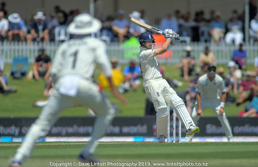 England's Joe Denley hits a four during day one of the international cricket 1st test match between NZ Black Caps and England at Bay Oval in Mount Maunganui, New Zealand on Thursday, 21 November 2019. Photo: Dave Lintott / lintottphoto.co.nz