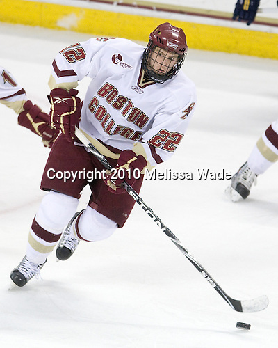 Paul Carey (BC - 22) - The Boston College Eagles defeated the Merrimack College Warriors 7-0 on Tuesday, February 23, 2010 at Conte Forum in Chestnut Hill, Massachusetts.
