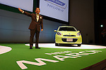 July 13, 2010 - Yokohama, Japan - Toshiyuki Shiga, chief operating officer of Nissan Motor Co., delivers a speech during the unveiling of the company's March compact vehicle in Yokohama, Japan, on Tuesday, July 13, 2010. Nissan said it is aiming to sell 4,000 units a month of the new version in its domestic market with starting price of 999,600 yen (11,300 $US).