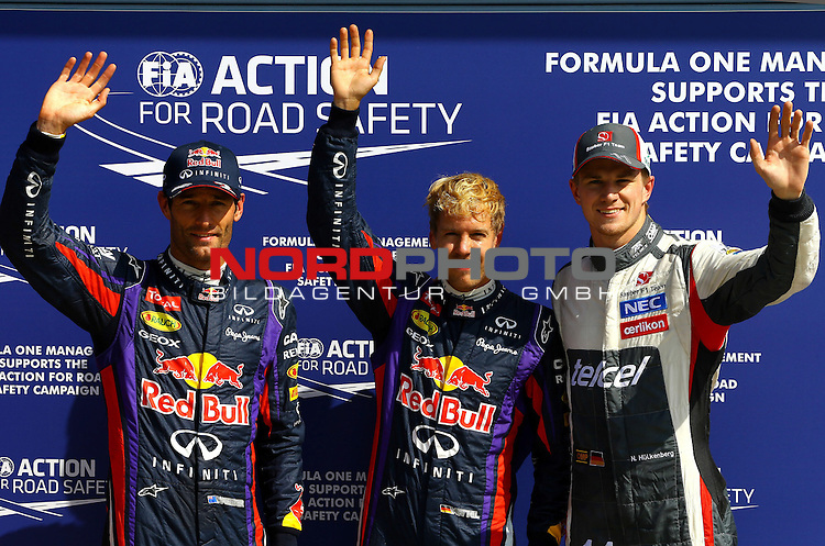 05.-08.09.2011, Autodromo Nationale, Monza, ITA, F1, Grosser Preis von Italien, Monza, im Bild Mark Webber (AUS), Red Bull Racing - Sebastian Vettel (GER), Red Bull Racing - Nico Huelkenberg (GER), Sauber F1 Team <br /> for Austria &amp; Germany Media usage only!<br />  Foto &copy; nph / Mathis
