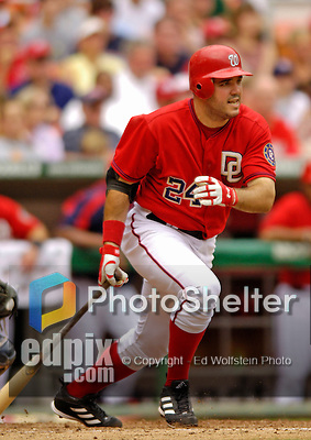 4 September 2006: Nick Johnson, first baseman for the Washington Nationals, in action against the St. Louis Cardinals. The Nationals defeated the Cardinals 4-1 at Robert F. Kennedy Memorial Stadium in Washington, DC. ..Mandatory Photo Credit: Ed Wolfstein..