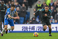 Eden Hazard of Chelsea (10) Dribbles with the ball  during the Premier League match between Brighton and Hove Albion and Chelsea at the American Express Community Stadium, Brighton and Hove, England on 20 January 2018. Photo by Edward Thomas / PRiME Media Images.