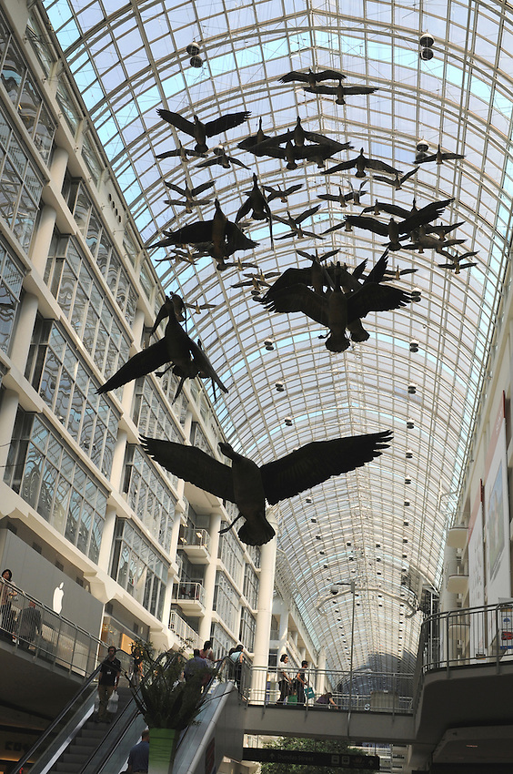 Michael Snow's Geese fly overhead at Toronto's Eaton Centre