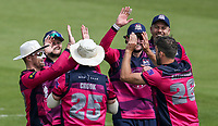 Northants Steelbacks' Ben Sanderson (right) celebrates with his teammates after taking the wicket of Cameron Steel (not shown) <br /> <br /> Photographer Andrew Kearns/CameraSport<br /> <br /> Royal London One Day Cup - Northamptonshire v Durham - Sunday 27th May 2018 - The County Ground, Northampton<br /> <br /> World Copyright &copy; 2018 CameraSport. All rights reserved. 43 Linden Ave. Countesthorpe. Leicester. England. LE8 5PG - Tel: +44 (0) 116 277 4147 - admin@camerasport.com - www.camerasport.com