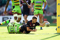 Richard Wigglesworth of Saracens reaches for the try-line. Aviva Premiership match, between Saracens and Northampton Saints on September 2, 2017 at Twickenham Stadium in London, England. Photo by: Patrick Khachfe / JMP