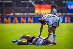 31.08.2019, Auestadion, Kassel, GER, DFB Frauen, EM Qualifikation, Deutschland vs Montenegro , DFB REGULATIONS PROHIBIT ANY USE OF PHOTOGRAPHS AS IMAGE SEQUENCES AND/OR QUASI-VIDEO<br /> <br /> im Bild | picture shows:<br /> Verletzung \ Schmerzen bei Turid Knaak (DFB Frauen #22), Lina Magull (DFB Frauen #20) kuemmert sich,  <br /> <br /> Foto © nordphoto / Rauch
