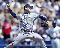 Ben Sheets of the Milwaukee Brewers pitches during a 2002 MLB season game against the Los Angeles Dodgers at Dodger Stadium, in Los Angeles, California. (Larry Goren/Four Seam Images)