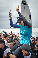 BELLS BEACH, Torquay, Victoria, Australia    (Thursday, April 5, 2018) Stephanie Gilmore (AUS)  - The Rip Curl Pro Bells Beach, Stop No. 2 on the World Surf League (WSL) Championship Tour (CT), wrapped up today with some solid clean 2m waves coming through Bells on the incoming tide.<br /> Italo Ferreira (BRA) could not have chosen a more dramatic context in which to earn his first-ever Championship Tour event win. Thursday afternoon at the Rip Curl Pro Bells Beach, the electric Brazilian defeated the man of the hour, three-time World Champion Mick Fanning (AUS), whose impending retirement after Bells added a bittersweet weight to the proceedings. <br /> <br /> <br /> But when the two paddled out for what would be a first for one of them, and a last for the other, none of that mattered to Ferreira. Instead, he showcased what he is capable of, and made his first serious step toward joining a World Title conversation.<br /> <br /> Plus, if you're going to win your first CT event, taking home the most coveted trophy in surfing isn't a bad way to go about it. Add Mick Fanning to the mix and it's even sweeter.<br /> <br /> &quot;I can't believe it,&quot; said Ferreira. &quot;It's just amazing. Mick Fanning is a hero to me. He's inspired me every single day, at every single competition. Remember his movie 3 Degrees? I've seen that 2000 times.&quot; <br /> <br /> Six-time World Champion Stephanie Gilmore (AUS)  took a step toward winning a seventh Title Thursday when she won the Rip Curl Women's Pro Bells Beach. She also became one of just a few surfers -- Mark Richards, Kelly Slater and Mick Fanning among them -- to ring the winner's bell an incredible fourth time. Photo: joliphotos.com- The Rip Curl Pro Bells Beach, Stop No. 2 on the World Surf League (WSL) Championship Tour (CT), wrapped up today with some solid clean 2m waves coming through Bells on the incoming tide.<br /> Italo Ferreira (BRA) could not have chosen a more dramatic context in which to earn his first-ev