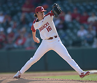 NWA Democrat-Gazette/ANDY SHUPE<br />Arkansas starter Blaine Knight delivers to the plate against Kent State Friday, March 9, 2018, during the third inning at Baum Stadium in Fayetteville. Visit nwadg.com/photos to see more photographs from the game.