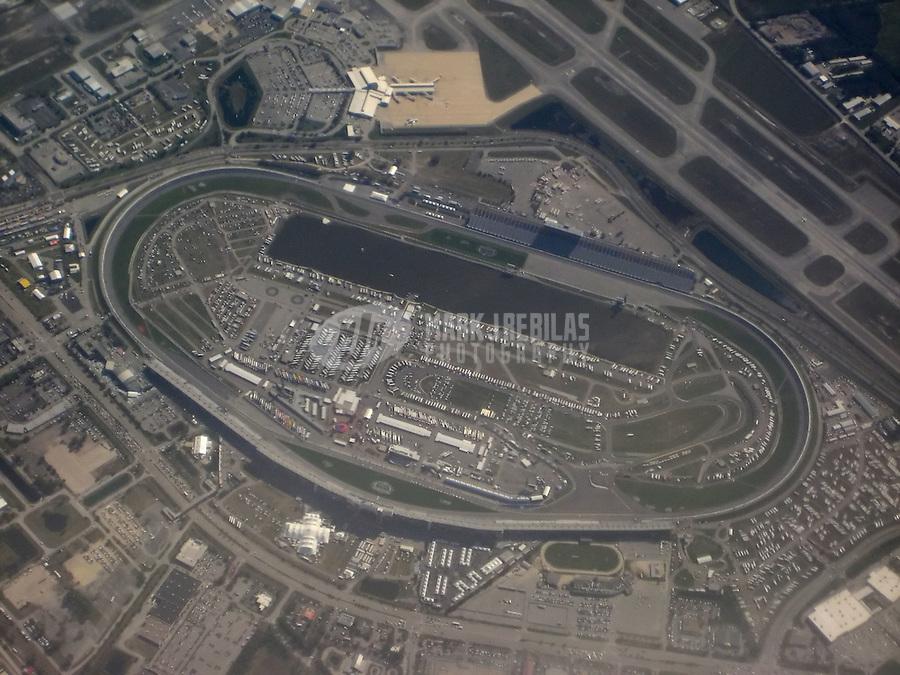 Feb 9, 2008; Daytona, FL, USA; Aerial view of the Daytona International Speedway during Nascar Sprint Cup Series practice for the Daytona 500. Mandatory Credit: Mark J. Rebilas-US PRESSWIRE