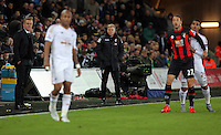 Bournemouth manager Eddie Howe (C) and Swansea manager Garry Monk (L) watch on during the Barclays Premier League match between Swansea City and Bournemouth at the Liberty Stadium, Swansea on November 21 2015