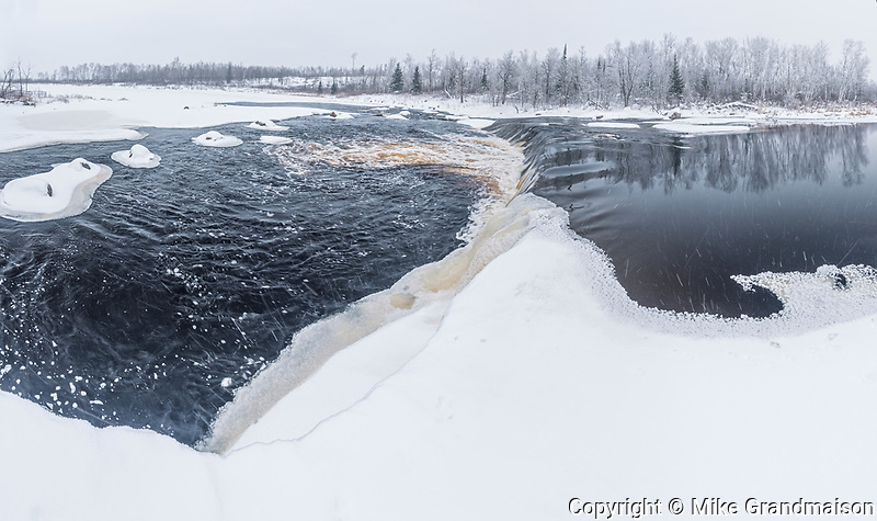 Rainbow Falls in winter, Whiteshell Provincial Park, Manitoba, Canada