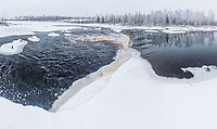Rainbow Falls in winter, Whiteshell Provincial Park, Manitoba, Canada