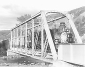 D&amp;RGW #478 leading eastbound passenger train through two different truss bridges and onto a plate girder bridge over San Juan R<br /> D&amp;RGW  Juanita, CO  Taken by Krause, John