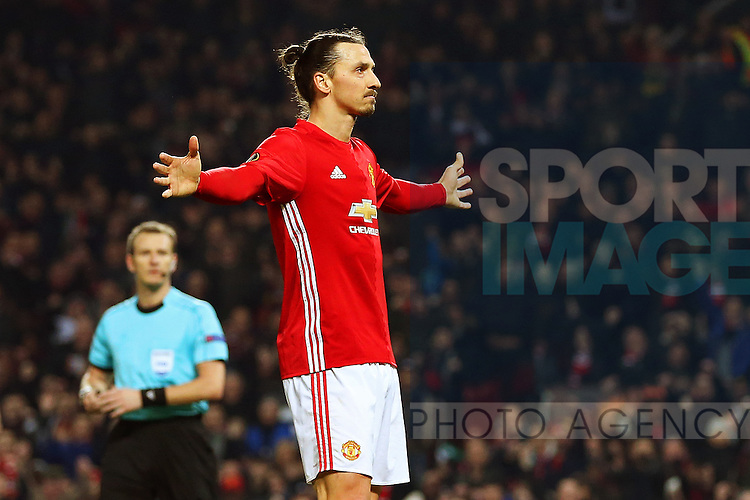 Zlatan Ibrahimovic of Manchester United celebrates after scoring his sides second goal  during the UEFA Europa League Round of 32 1st leg match at Old Trafford Stadium, Manchester. Picture date: February 16th, 2017. Pic credit should read: Matt McNulty/Sportimage