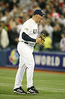 March 7, 2009:  Pitcher JJ Putz (23) of Team USA celebrates after saving a win during the first round of the World Baseball Classic at the Rogers Centre in Toronto, Ontario, Canada.  Team USA defeated Canada 6-5 in both teams opening game of the tournament.  Photo by:  Mike Janes/Four Seam Images