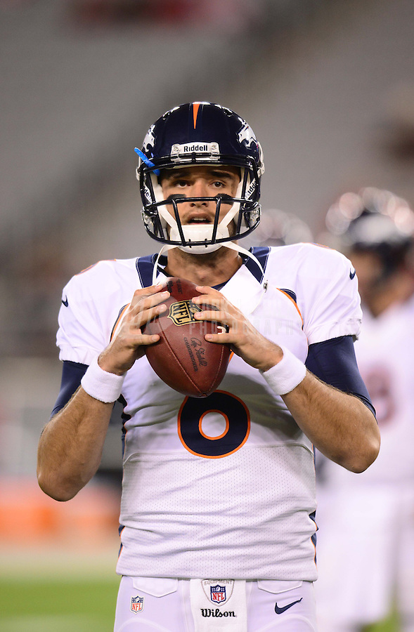 Aug. 30, 2012; Glendale, AZ, USA; Denver Broncos quarterback (6) Brock Osweiler against the Arizona Cardinals during a preseason game at University of Phoenix Stadium. Mandatory Credit: Mark J. Rebilas-