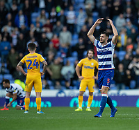 Reading's Matt Miazga (right) celebrates scoring his side's first goal and winning goal to give the new manager Mark Bowen a win in charge of his first game<br /> <br /> Photographer David Horton/CameraSport<br /> <br /> The EFL Sky Bet Championship - Reading v Preston North End - Saturday 19th October 2019 - Madejski Stadium - Reading<br /> <br /> World Copyright © 2019 CameraSport. All rights reserved. 43 Linden Ave. Countesthorpe. Leicester. England. LE8 5PG - Tel: +44 (0) 116 277 4147 - admin@camerasport.com - www.camerasport.com