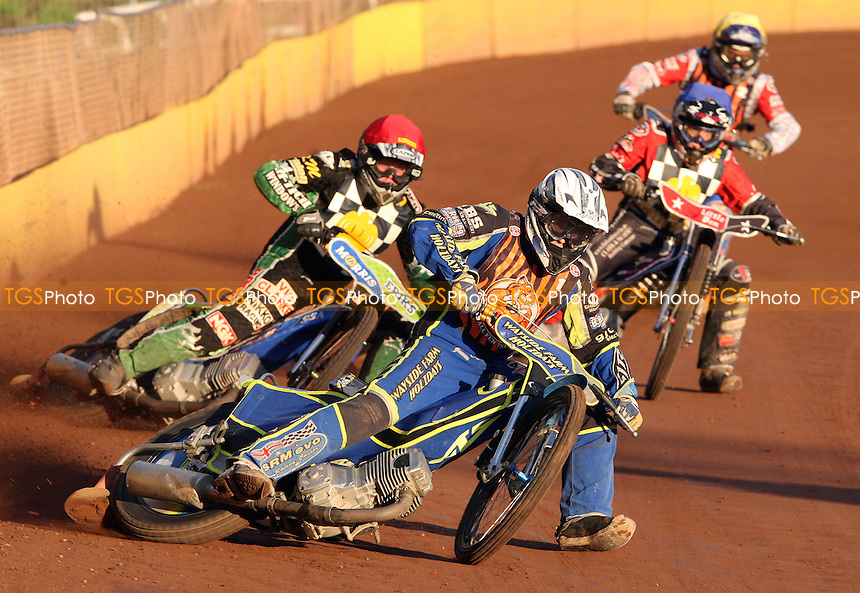 Heat 1: Robert Branford (white), Barrie Evans (red), Ben Morley (blue) and Mark Baseby (yellow) - Hackney Hawks vs Mildenhall Fen Tigers, National League Speedway at Hoddesdon, Rye House - 30/04/11 - MANDATORY CREDIT: Rob Newell/TGSPHOTO - Self billing applies where appropriate - 0845 094 6026 - contact@tgsphoto.co.uk - NO UNPAID USE.