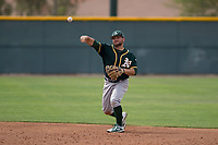 Oakland Athletics second baseman Nate Mondou (8) warms up between innings of a Minor League Spring Training game against the Chicago Cubs at Sloan Park on March 13, 2018 in Mesa, Arizona. (Zachary Lucy/Four Seam Images)