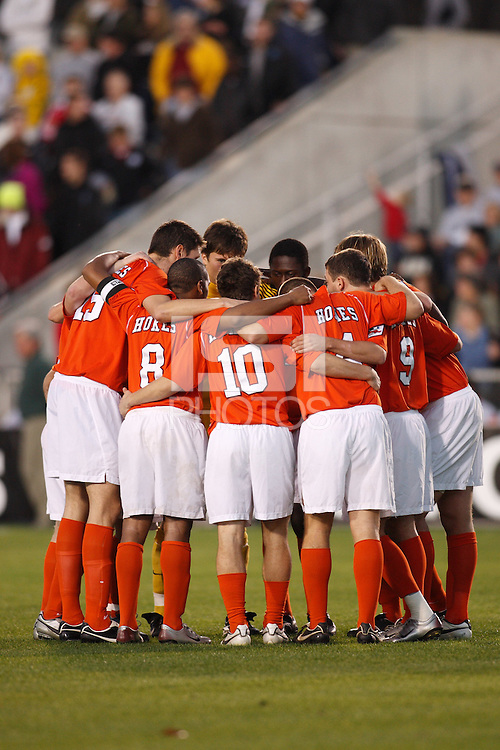 Virginia Tech Hokies players huddle prior to the start of an NCAA College Cup semi-final match at SAS Stadium in Cary, NC on December 14, 2007. Wake Forest defeated Virginia Tech 2-0.