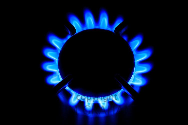 Gas flame on cooker hob, England, United Kingdom