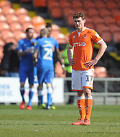 Blackpool's Matthew Virtue looks dejected after Peterborough United take the lead<br /> <br /> Photographer Kevin Barnes/CameraSport<br /> <br /> The EFL Sky Bet League One - Blackpool v Peterborough United - Saturday 13th April 2019 - Bloomfield Road - Blackpool<br /> <br /> World Copyright &copy; 2019 CameraSport. All rights reserved. 43 Linden Ave. Countesthorpe. Leicester. England. LE8 5PG - Tel: +44 (0) 116 277 4147 - admin@camerasport.com - www.camerasport.com