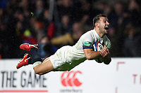 Danny Care of England dives for the try-line. Old Mutual Wealth Series International match between England and Australia on November 18, 2017 at Twickenham Stadium in London, England. Photo by: Patrick Khachfe / Onside Images