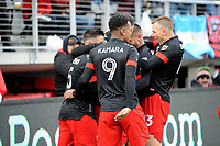 WASHINGTON, DC - FEBRUARY 29: Washington, D.C. - February 29, 2020: Russell Canouse #4 of D.C. United celebrating his score with teammates. The Colorado Rapids defeated D.C. Untied 2-1 during their Major League Soccer (MLS)  match at Audi Field during a game between Colorado Rapids and D.C. United at Audi Field on February 29, 2020 in Washington, DC.