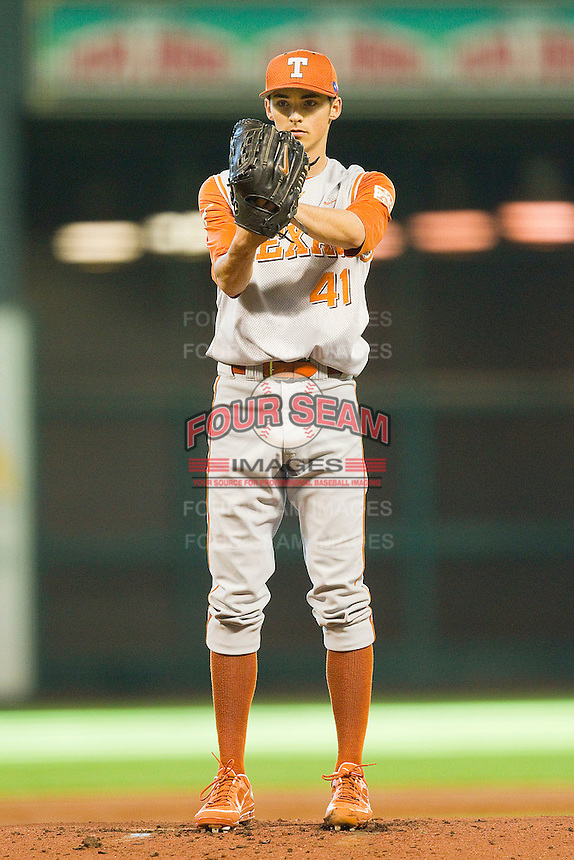 Texas Longhorns starting pitcher Hoby Milner #41 looks to his catcher for the sign against the Tennessee Volunteers at Minute Maid Park on March 3, 2012 in Houston, Texas.  The Volunteers defeated the Longhorns 5-4.  (Brian Westerholt/Four Seam Images)