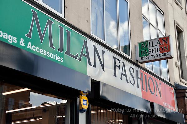 Milan Fashion wholesaler in Commercial Road, London, UK.