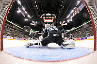 The puck sails past Milwaukee Admirals goaltender Magnus Hellberg for a San Antonio Rampage goal in the second period of an AHL hockey game, Thursday, Jan. 16, 2014, in San Antonio (Darren Abate/AHL)