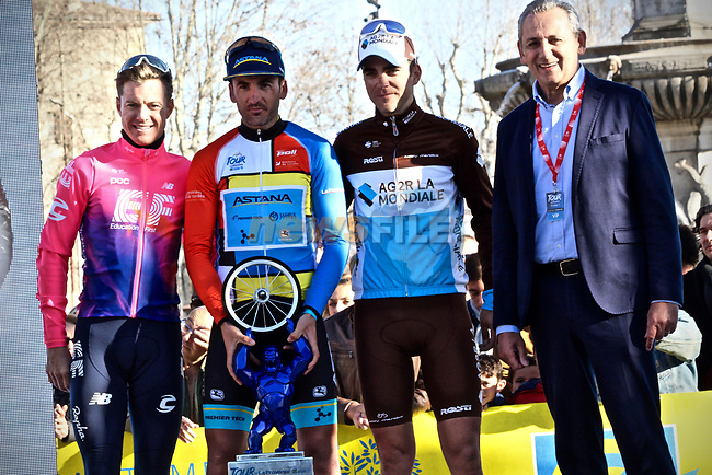 Gorka Izagirre (ESP) Astana Pro Team wins overall by just 13 hundredths of a second from Simon Clarke (AUS) EF Education First and Tony Gallopin (FRA) AG2R-La Mondiale in 3rd at the end of Stage 4 of the 2019 Tour de La Provence, running 173.3km from Avignon to Aix-en-Provence, France. 17th February 2019.<br /> Picture: SHIFT Active Media | Cyclefile<br /> <br /> <br /> All photos usage must carry mandatory copyright credit (© Cyclefile | SHIFT Active Media)