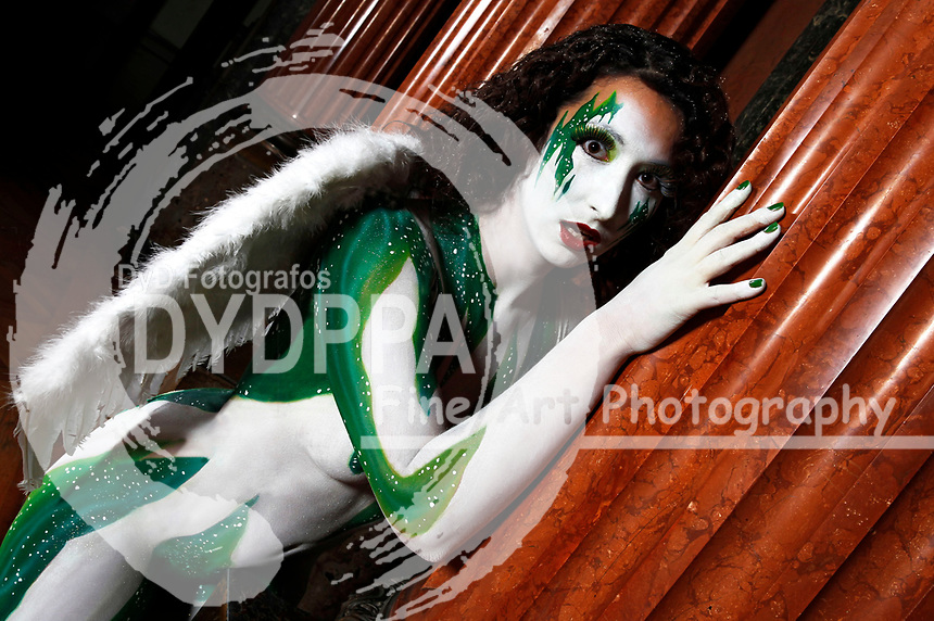 Bodypainting and Model-Shooting with Model Nicole at Palais Bueckeburg. Body Paint-Artist: Joerg Duesterwald. Bueckeburg on November 23, 2013