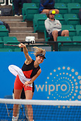 June 12th 2017,  Nottingham, England; WTA Aegon Nottingham Open Tennis Tournament day 3; Mona Barthel of Germany serves in the 2nd set of her match against Jana Fett of Croatia