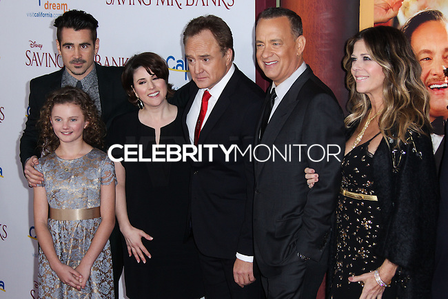 "BURBANK, CA - DECEMBER 09: Colin Farrell, Annie Rose Buckley, Melanie Paxson, Bradley Whitford, Tom Hanks, Rita Wilson arriving at the U.S. Premiere Of Disney's ""Saving Mr. Banks"" held at Walt Disney Studios on December 9, 2013 in Burbank, California. (Photo by Xavier Collin/Celebrity Monitor)"